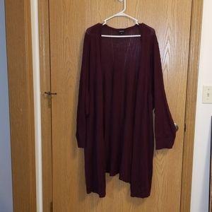 Torrid Burgundy Pointelle Knit Longline Cardigan
